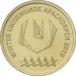 Монета 10 рублей ХХIХ Всемирная зимняя универсиада 2019 года в г. Красноярске, с изображением логотипа (2018)